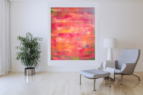 pink painting, meadow , floral painting, abstract landscape, colorful art