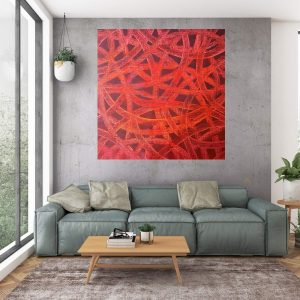 red painting, red abstrakt, large red art, heart, love