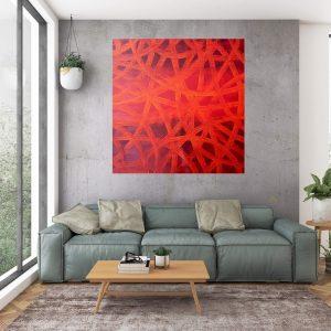 veľký červený obraz, vínový obraz, dobraz do spálne, ivana olbricht