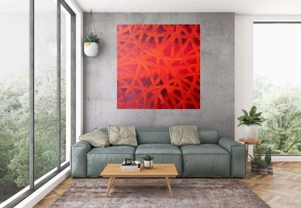 red abstractm large red painting, love, passion art, ivana olbricht