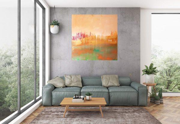 atumnal painting, atumnal landscape, golden art, copper, sunset painting