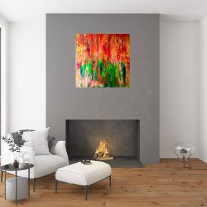tulips, abstract art, colorful painting