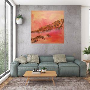velky abstract, ružový obraz, more, západ slnka, útesy
