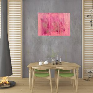 pink painting, pink abstract, silver and pink painting