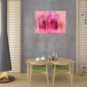 pink painting, golden and pink abstract, roses