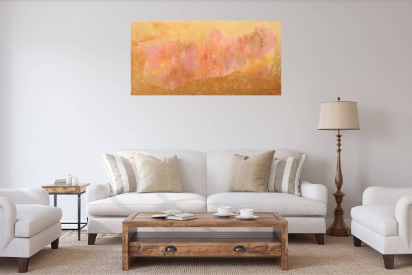 golden painting, xl golden abstract, pink and gold art, roses, abstract flowers, soul painting