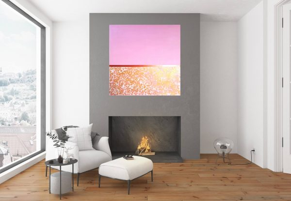pink painting, large golden painting, stones, large absgract art, minimalism