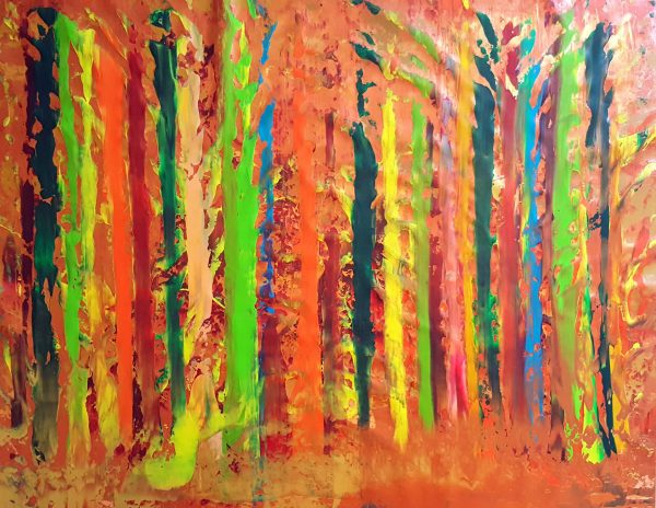 xxl painting, colorful abstract, autumnal landscape, forest, autumnal trees