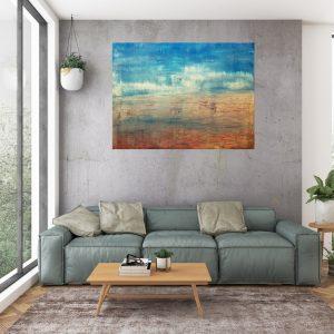 petrol blue painting, abstract landscape, golden art