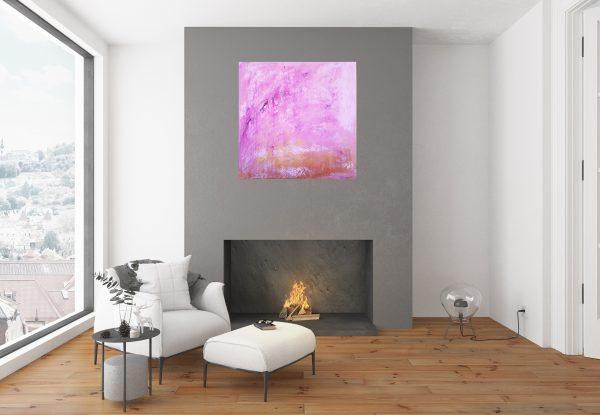 ruzovy obraz, rozdvitnute stromy, ceresna, pink painting, golden