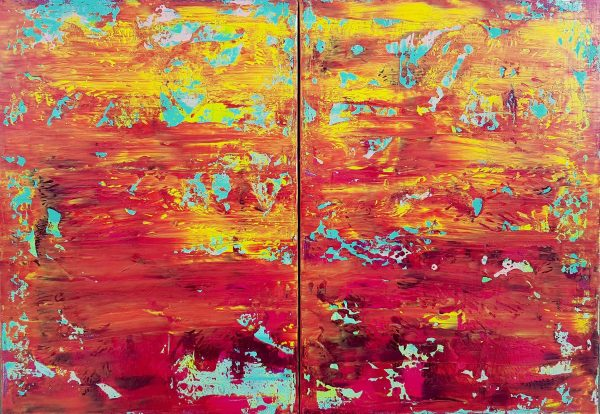 colorful abstract, sunset, palette knife painting, abstraktny obraz, velky obraz