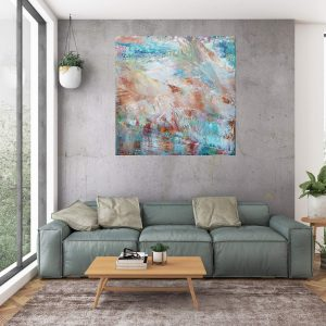 modrý obraz, veľký obraz, obraz do spálne, zemité farby