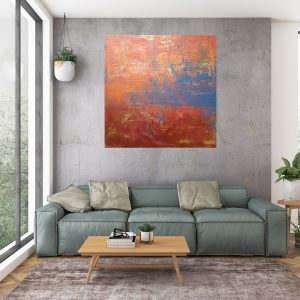 orange painting, abstract landscape, copper