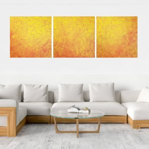 Yellow painting, orange painting, triptych abstract