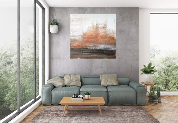 winter landscape, abstract landscape, trees, golden painting, painting for living room