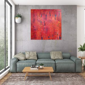 red painting, orange abstract, orange and red, indian summer, large abstract