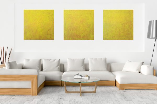 triptych abstract, yellow painting, strars