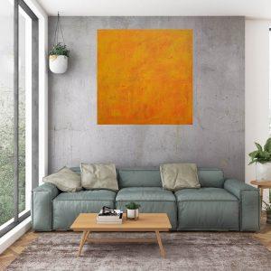 oranžový obraz, slnko, minimalistický obraz