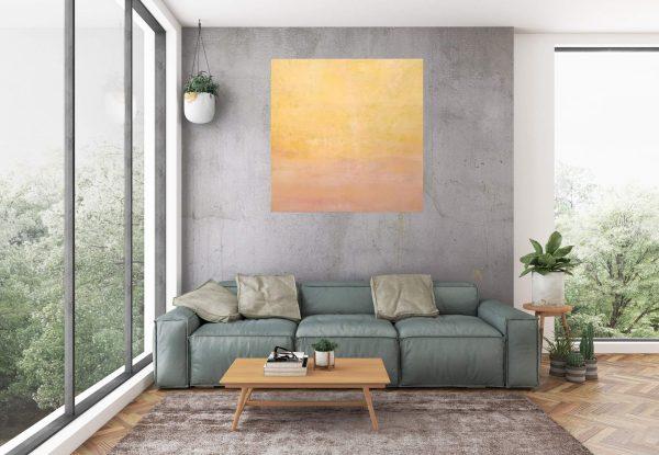 orange abstract, desert, roses, minimalisitc painting