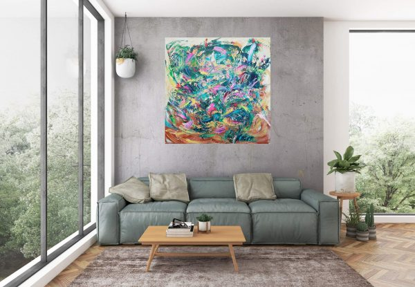 floral painting, large abstract, neon colors, colorful painting