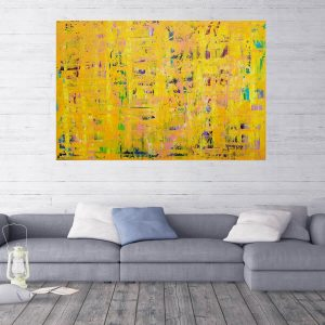 yellow painting, the sun, xxl painting, statement art, expresionism