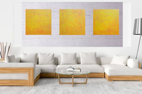 triptych painting, orange painting, yellow painting