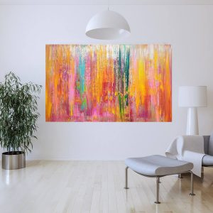 coloful painting, large abstract, spring landscape