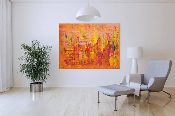 large abstract, orange painting, summer landscape, colorful abstract