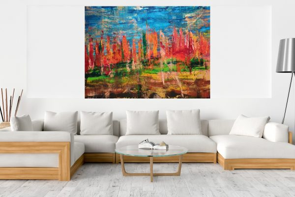 xxl painting, xxl landscape, extra large artwork, abstract painting, autumnal andscape