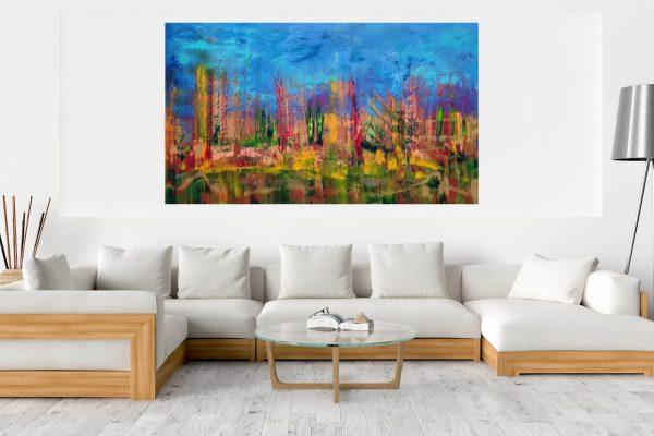 xxl painting, autumnal painting, jesenny obraz, les, strees, stromy