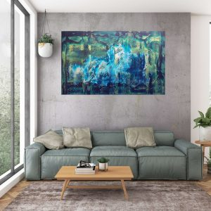large abstract painting, velky obraz, blue painting, modry obraz