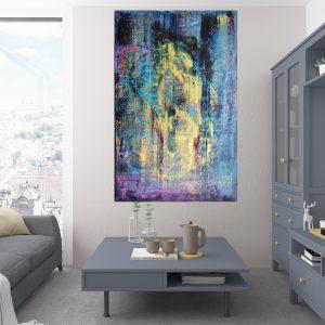 modrý obraz, spln, veľký abstaktný obraz, obraz do spálne