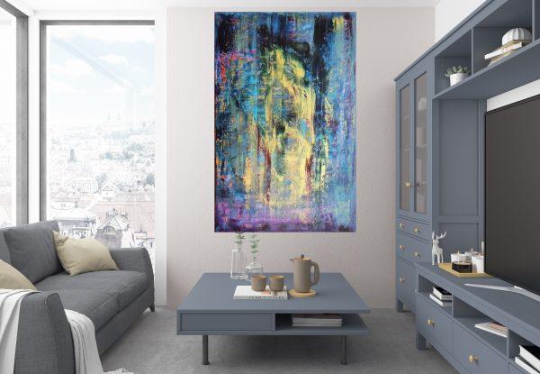 blue painting, large abstract, velky obraz, zlaty obraz