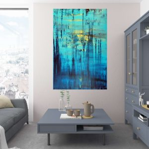 the sun, blue painting, seascape, turuoise painting, large painting