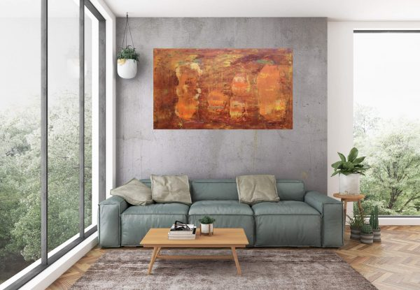 autumnal painting, forest, copper, golden