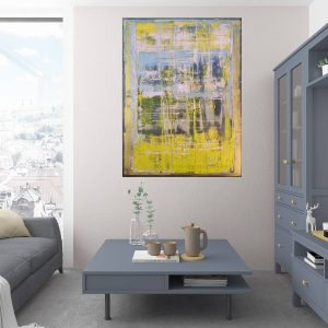 yello painting, silver painting, modern painting, large abstract