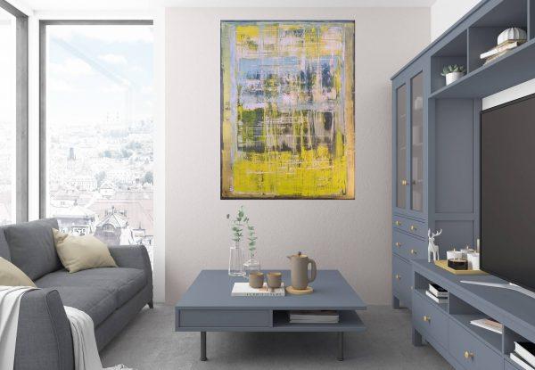 žltý obraz, moderný obraz, obraz do spálne, veľký obraz, abstraktný obraz
