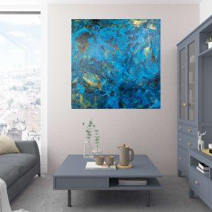 blue painting, large abstract, modern artwork, ivana olbricht
