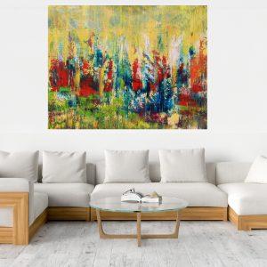 autumnal landscape, xxl art, forest, flowers, abstract landscape, large landscape