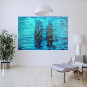 blue painting, blue abstract, water, large abstract painting, turquoise green